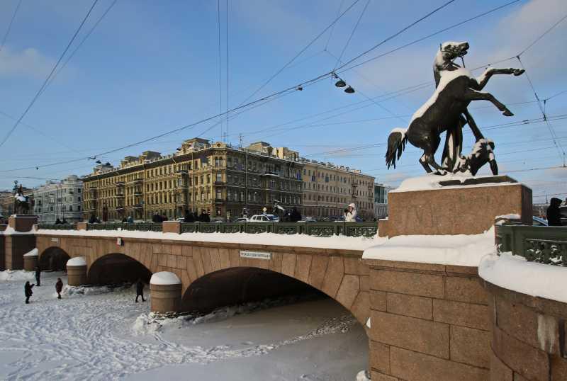 Санкт-Петербург, Фонтанка, Аничков мост, Невский проспект (зима)